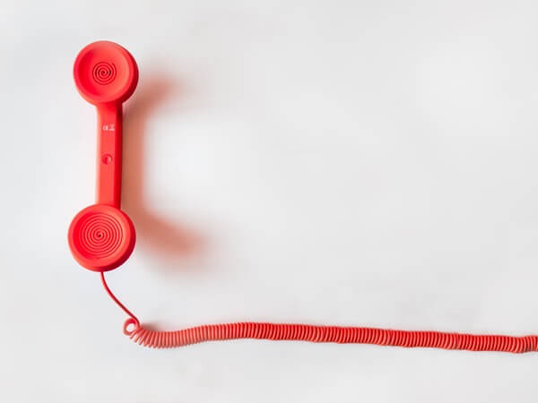 A Red color telephone