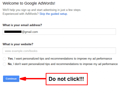 Google Adwords welcome page