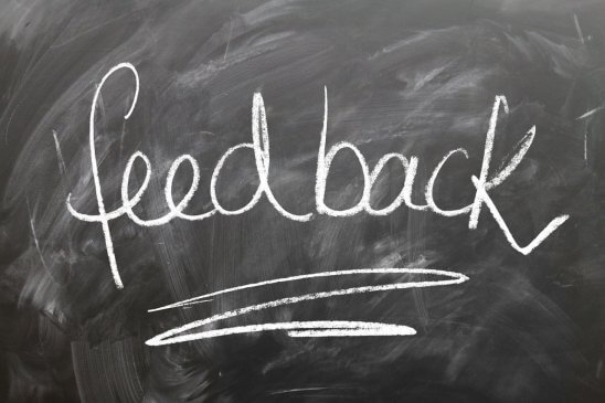 Close up text of feedback