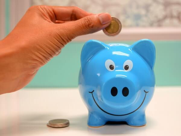 Person savings money in the piggy bank