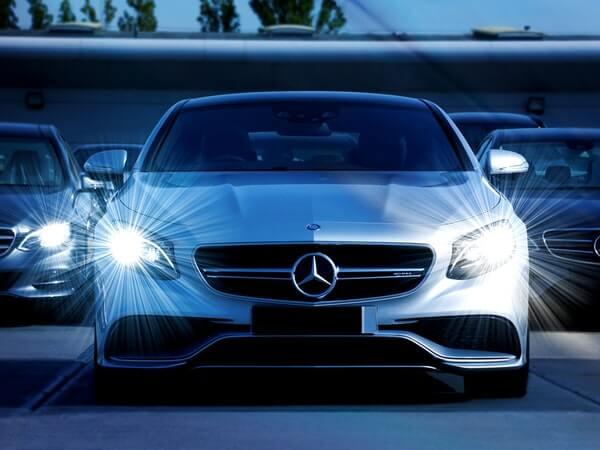 White Mercedes car