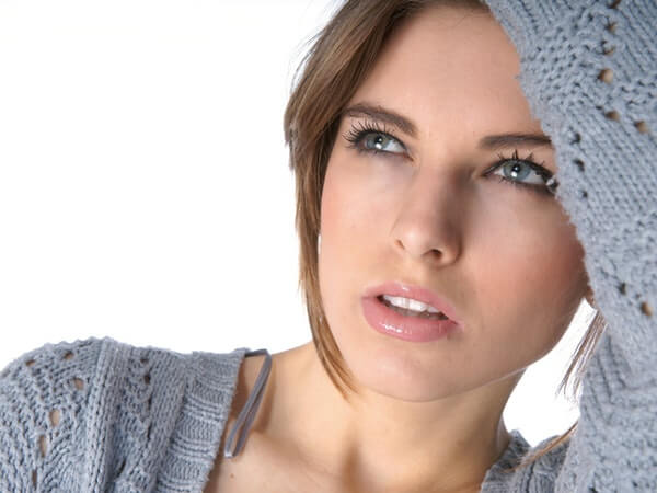 Attractive beautiful closeup face and glowing skin