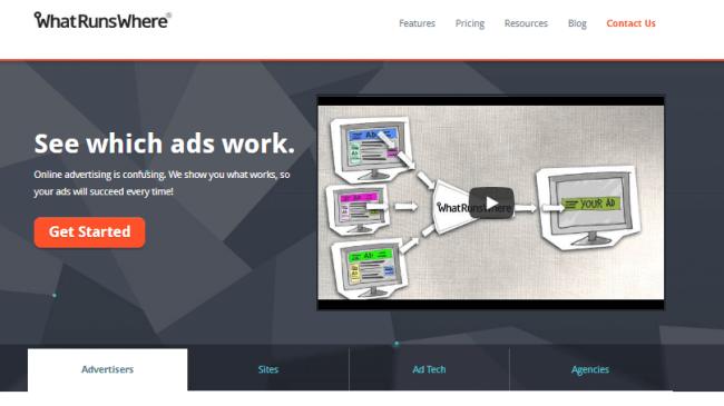 Screenshot of WhatRunsWhere Competitor research tool