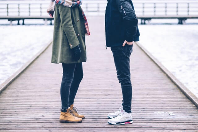 Man and Woman in winter boots