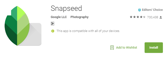 Snapseed Photoshop App screenshot from Google Playstore