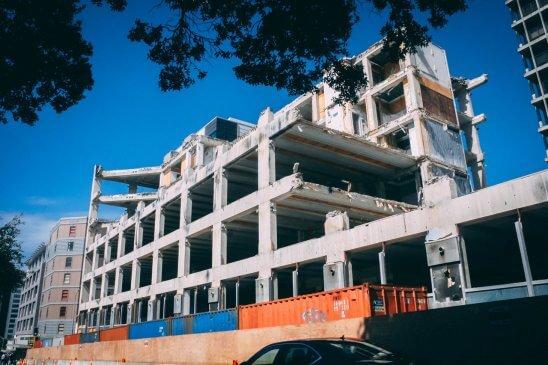 Grey color concrete building