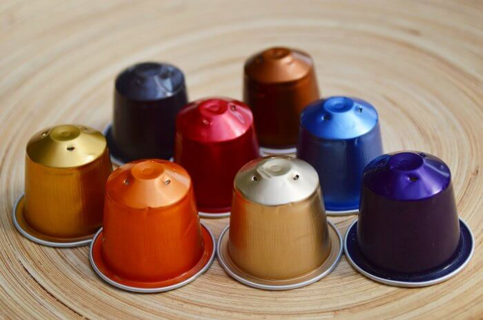 Coffee capsules in different colors
