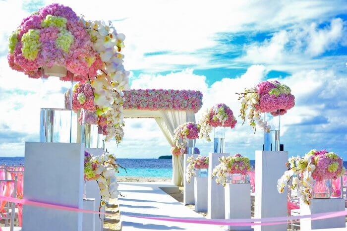 Wedding ceremony held at beach