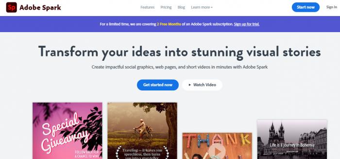 Screenshot of Adobe Spark social graphic tool