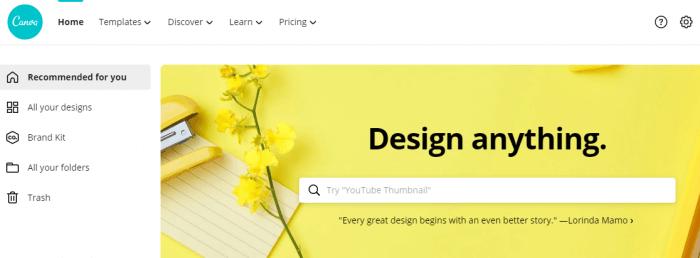 Screenshot of Canva Designing tool