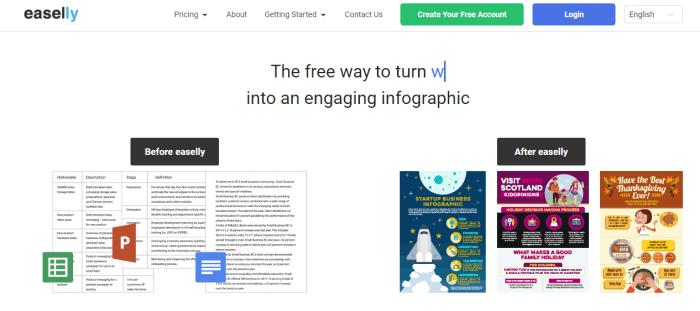 Screenshot of Easel infographic design tool