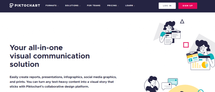 Screenshot of Piktochart designing tool