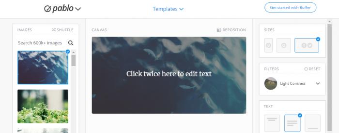Screenshot of Pablo social media design tool